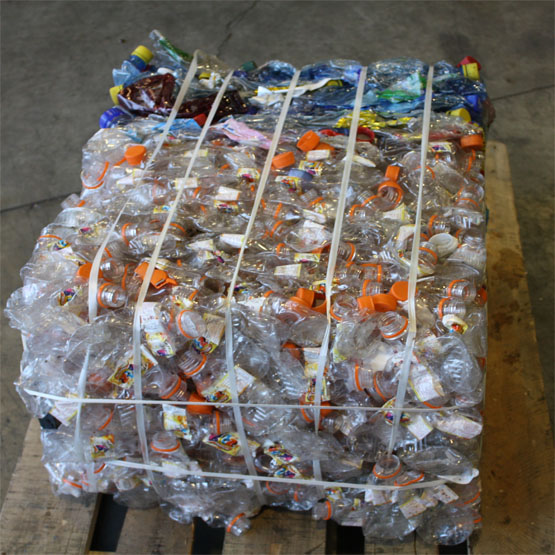 a small bale of plastic drinks bottles