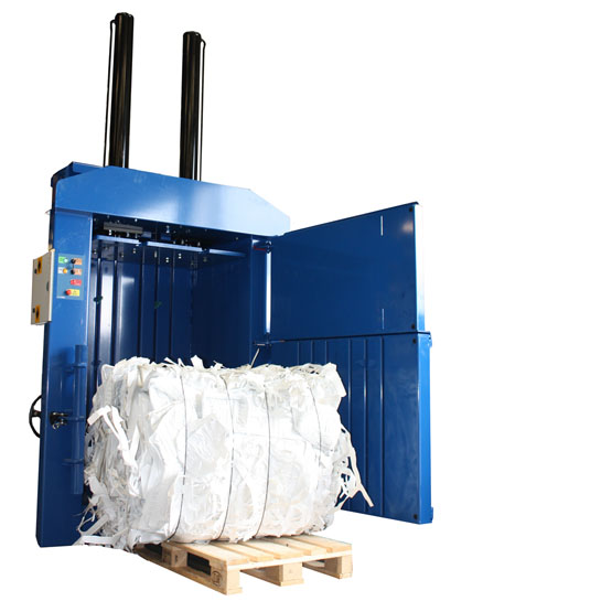 450 heavy duty baler with a bale of plastic waste